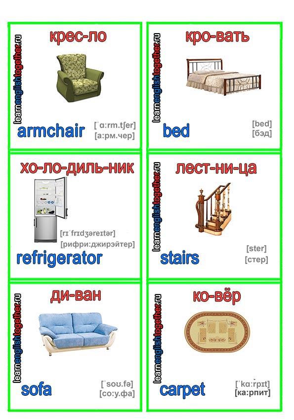 Карточки для изучения английского языка с расшифровкой слов