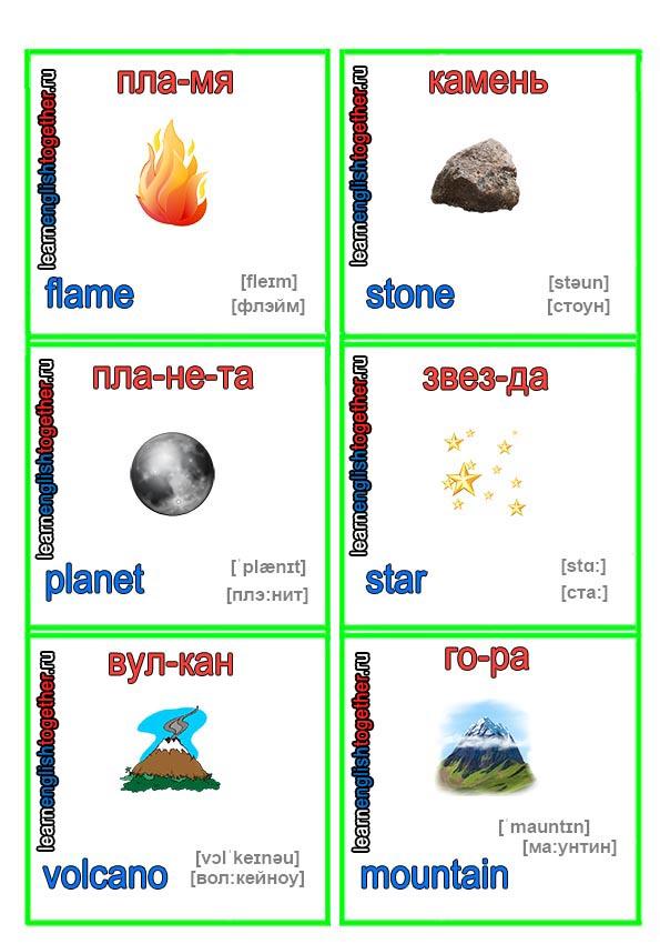 карточки для изучения английского языка природа