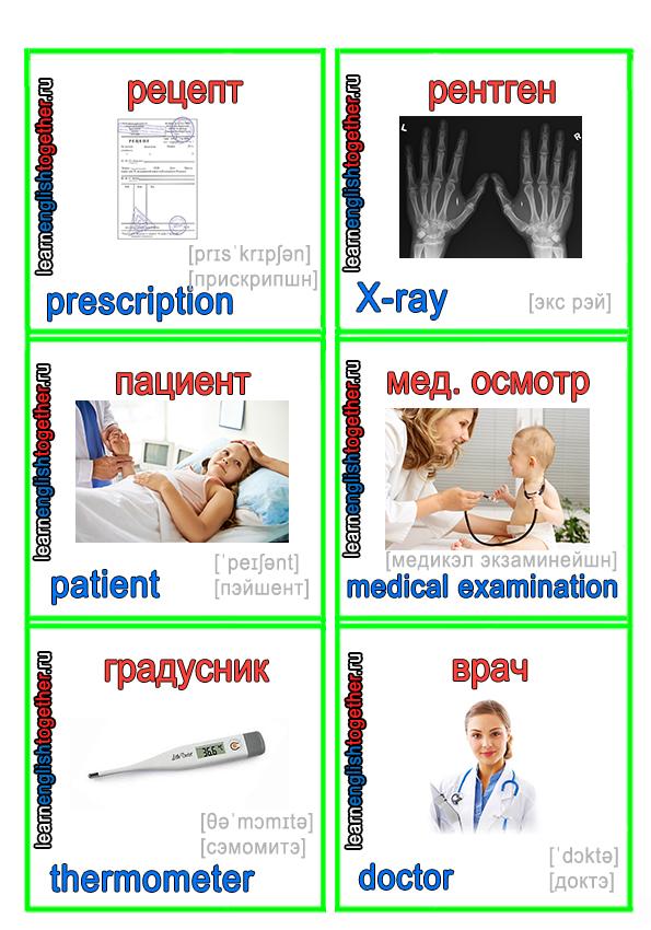 карточки для изучения английского языка на медицинскую тему