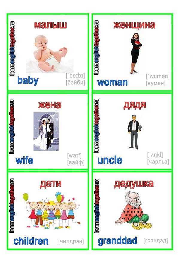 карточки с английской семьёй