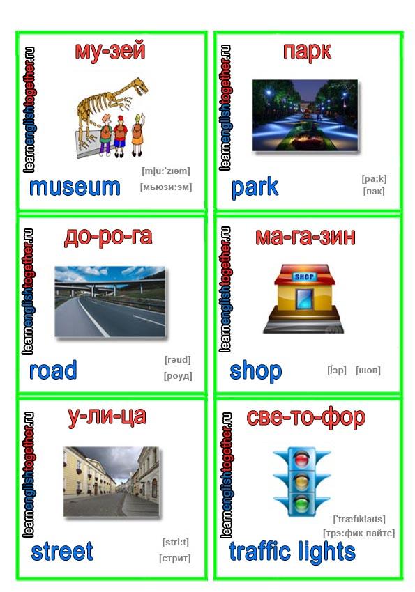 карточка для изучения английского языка с детсва