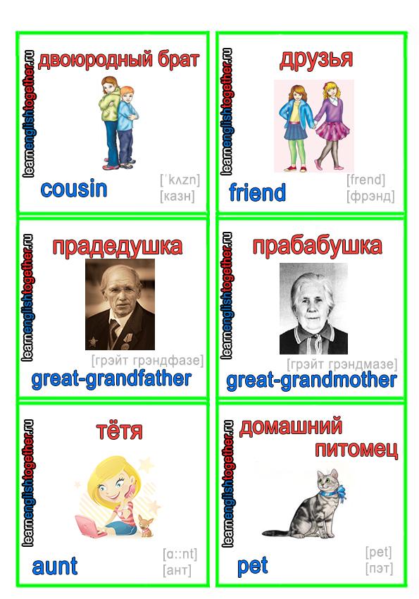 семья на английском языке с траскрипцией