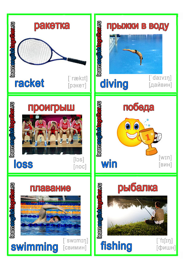 Виды спорта на английском языке с транскрипцией