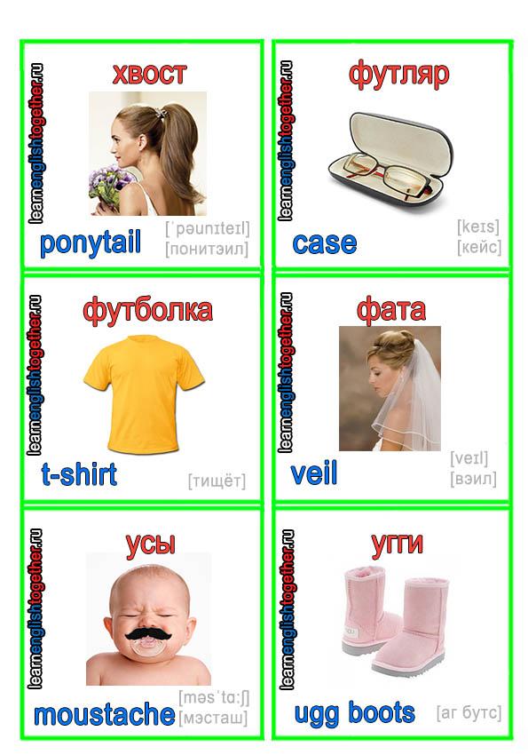 одежда в красивых карточках на английском