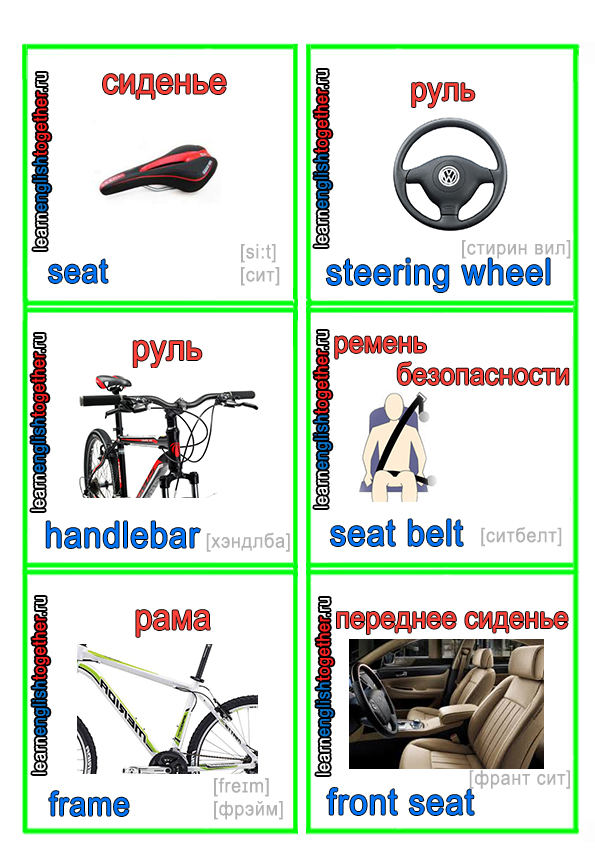 карточки с деталями велосипеда на английском языке