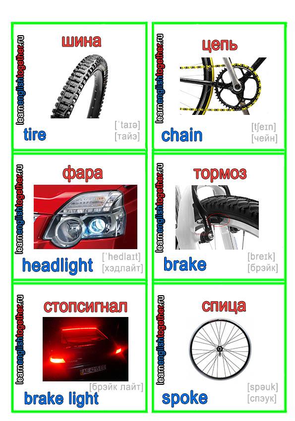 детали велосипеда и машины в карточках на английском языке