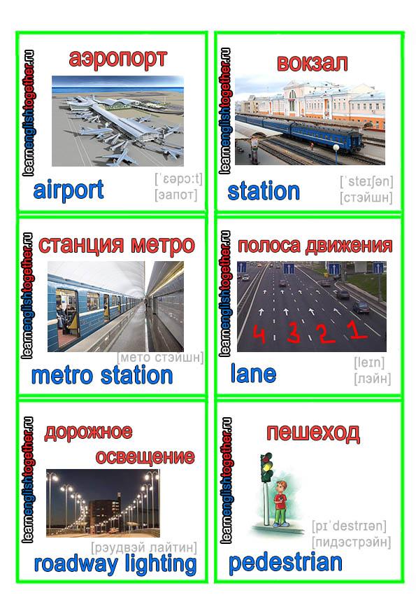 карточки для английского, аэропорт, вокзал, метро