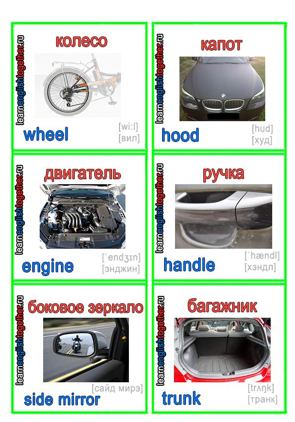 английские слова в картинках, машина, двигатель, колесо